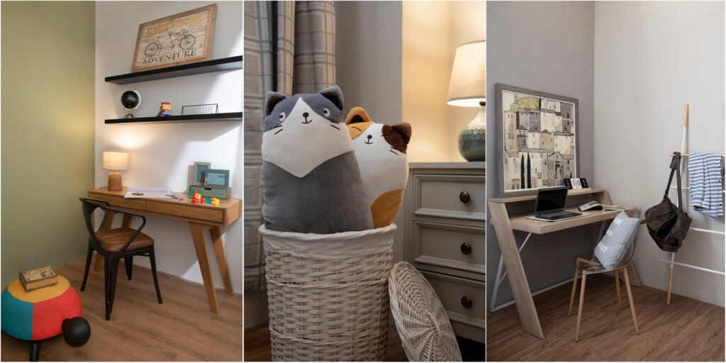 Three children's bedrooms with study areas and large stuffed cats in a wicker basket.