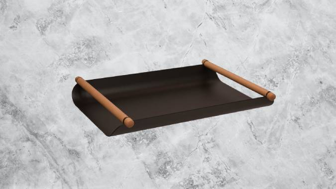 Modern wood and steel tray