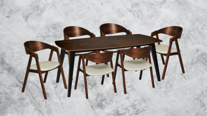 Dark wood six seater dining set