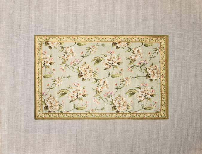Floral rug cutout.