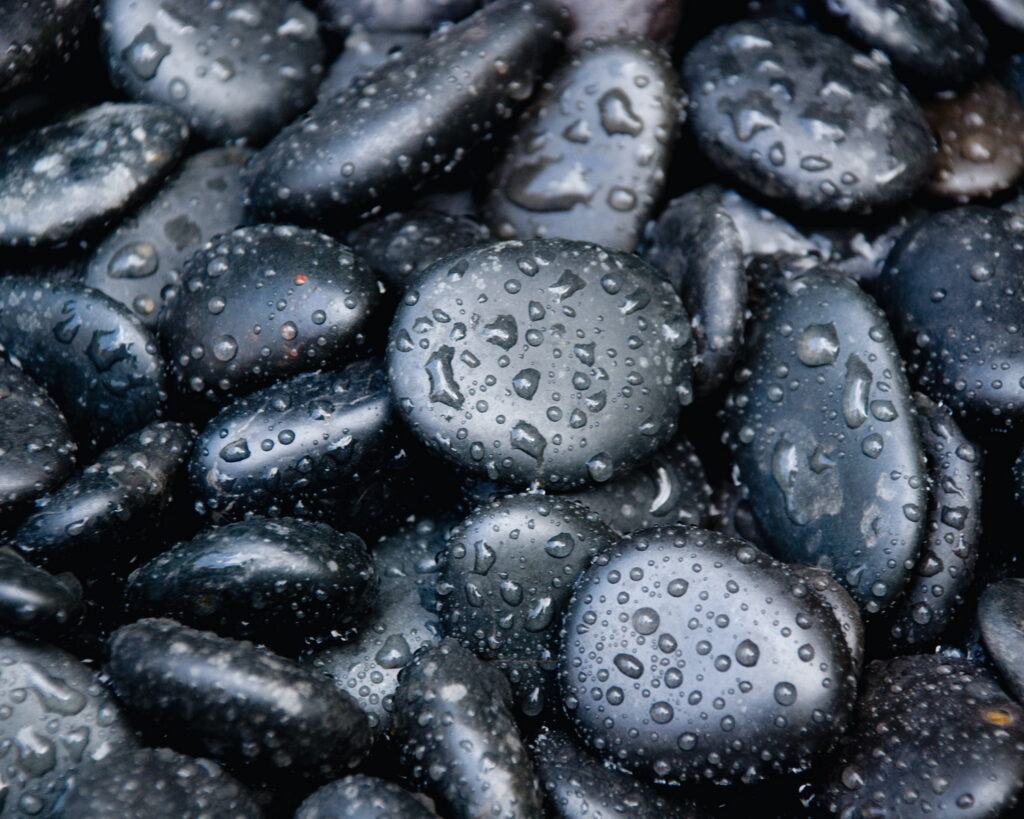 Black marble look pebbles