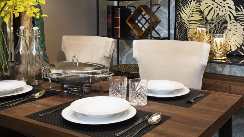 Cafe furniture ideas: Contemporary modern and balinese fusion dining space.