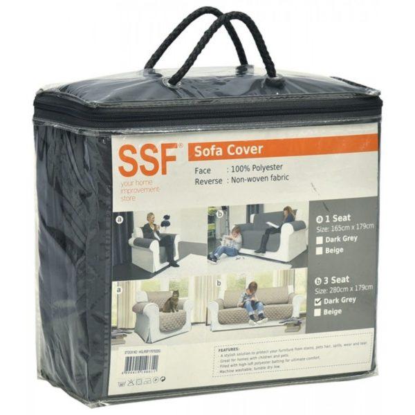 SSF 3 SEATER SOFA COVER (DARK GREY) HGLRSF170702DG