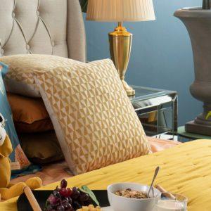 Inai Geometric Square Cushion . Yellow . BBLLIT190507YL