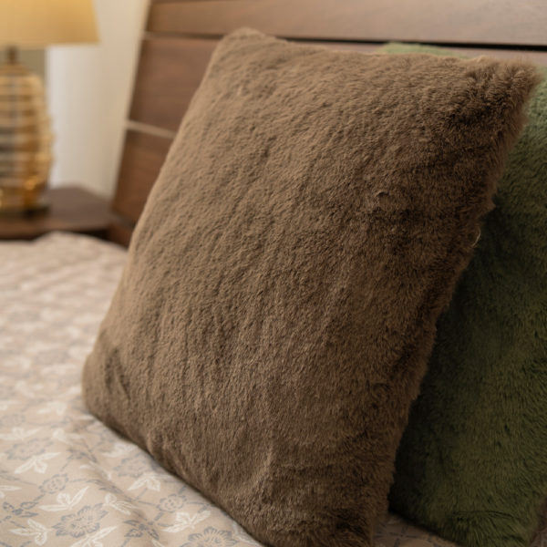 Kim Fluffy Square Cushion . Brown . BBLSCH190801BR