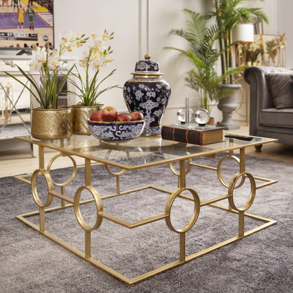Latipah Golden Tempered Glass Coffee Table . FCOATQ161005