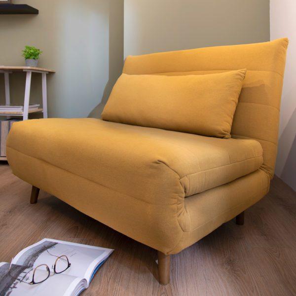 Meggie Plush Sofa Bed . Yellow . FSOCQN190306YL