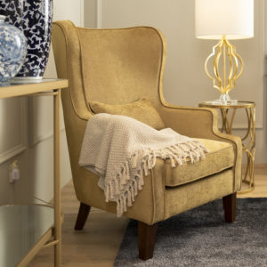 Umar Wingback Armchair . Gold . FSOQYF170601GD