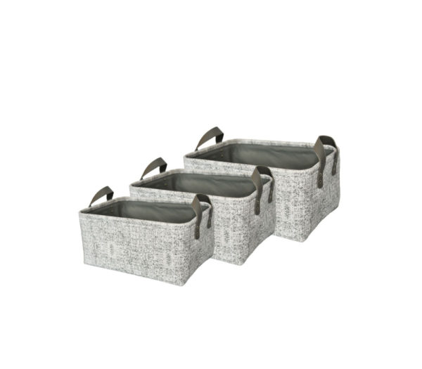 Fatin Set of 3 Storage Baskets . Light Grey . HHOLDE191104LG